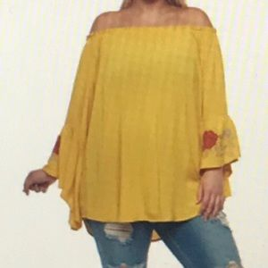 Miss LiLi Tops - 1x Plus Size Peasant Top with Bell Sleeves